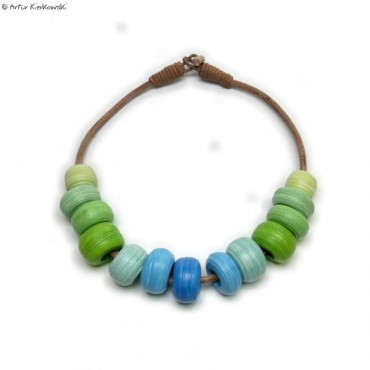 Naszyjnik Koraliki zielono-niebieski