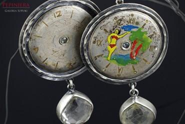 Panta Rhei VI srebrne kolczyki z cyferblatami