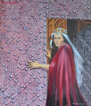 Królowa Jadwiga u drzwi Katedry Wawelskiej