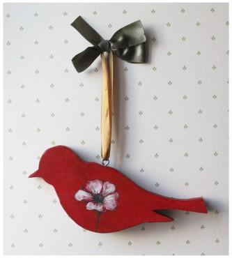 Ptak drewniany czerwony