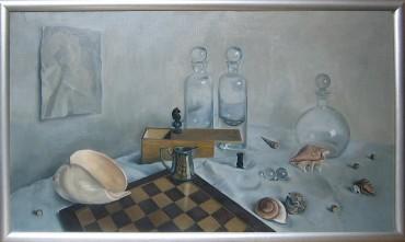 Martwa natura z szachami i szkłem