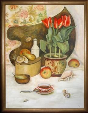 Martwa natura z tulipanami i filiżanką herbaty