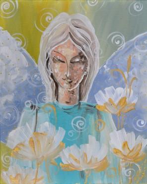 Anioł w kwiatach