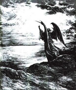 Anioł, rysunek piórkiem