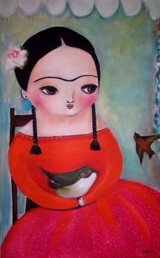 Frida z ptakiem
