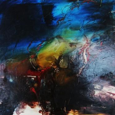 Niebieski - obraz olejny na płycie