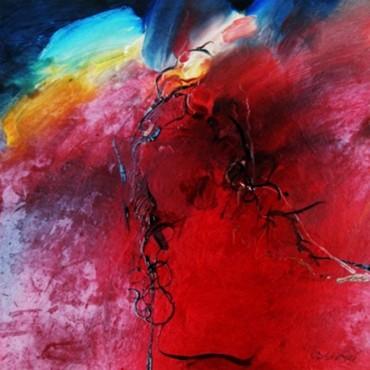Czerwony - obraz olejny na płycie