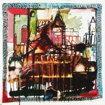 City - obraz olejny na płycie