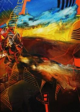 Abstrakcja brązowa - obraz olejny na płótnie