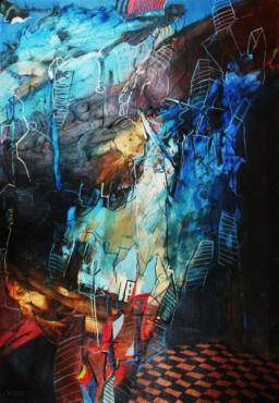 Abstrakcja niebieska - obraz olejny na płótnie