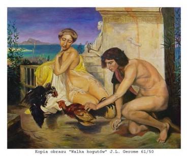 Walka kogutów - obraz olejny na płótnie