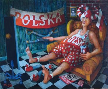 Obraz olejny Jacka Lipowczana pt. Patriotyczny kącik kibica