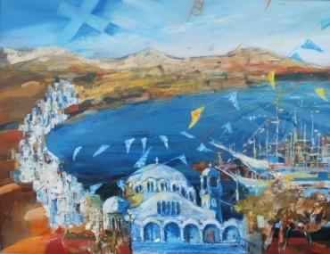 Cerkiew nad morzem Egejskim, obraz olejny na płótnie