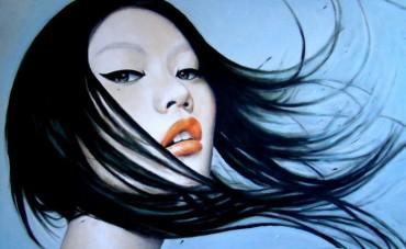 Portret z rozwianymi włosami