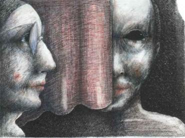Rozmowa - rysunek kredką