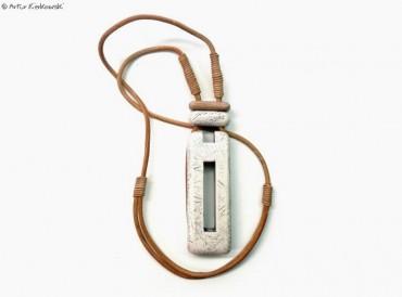 Naszyjnik Prostokąt-M biało-brązowy
