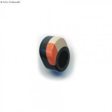 Pierścień kolor czarny-pomarańcz-białay