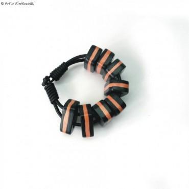Bransoleta kolor czarno-pomarańczowa
