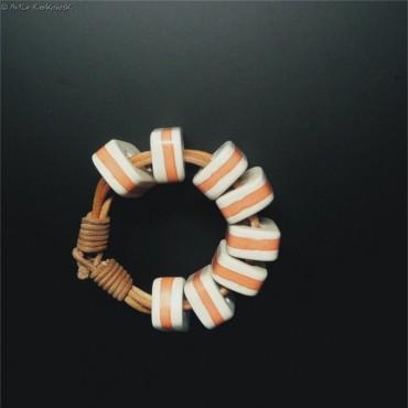 Bransoleta kolor biało-pomarańczowa