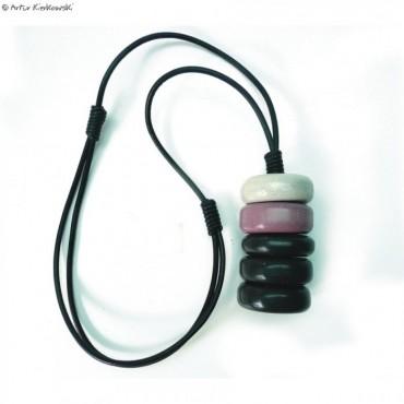 Naszyjnik minimal krążki czarno-szaro-fioletowe