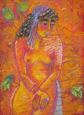 Akt w pomarańczach - pastel
