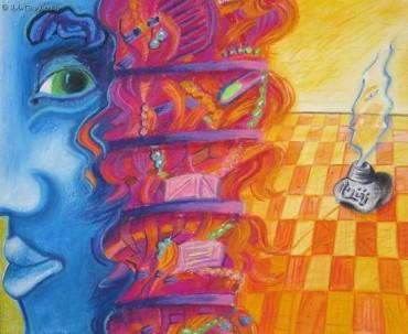 Błękitny portret - pastel