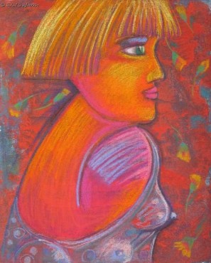 Portret z czerwoną szyją - pastel