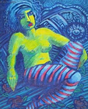 Siedząca w paski - pastel