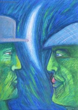 Spotkanie zielonych - pastel