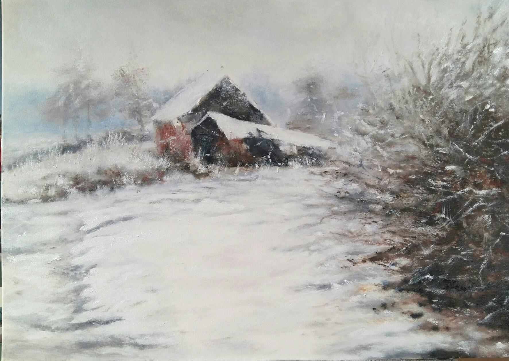 Pejzaż zimowy Młyn w Zgorzałym Moście