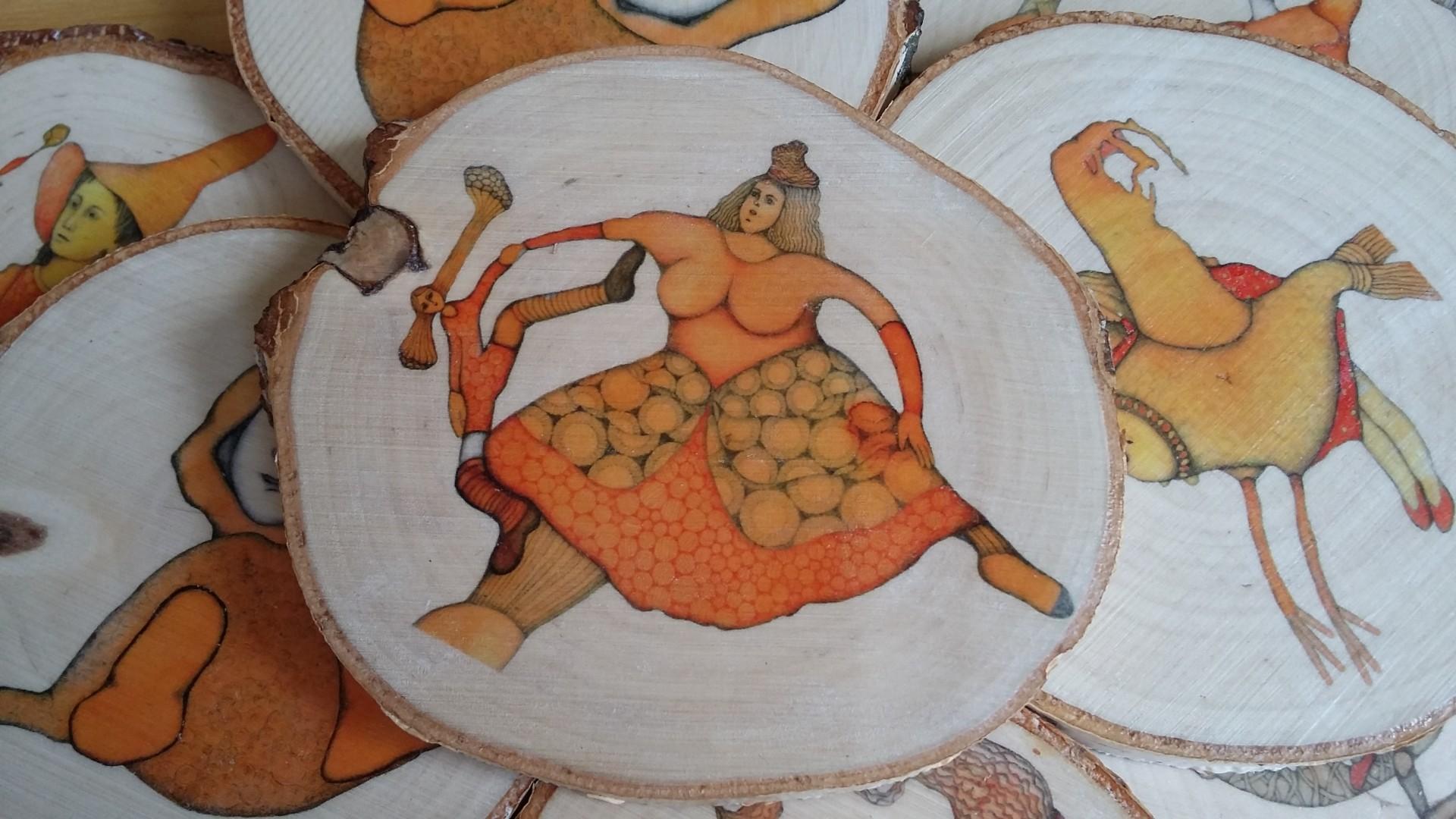 Podkładka ilustrowana plaster drewna śr.10cm