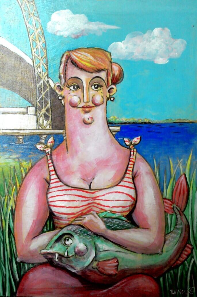 Dama z rybą.