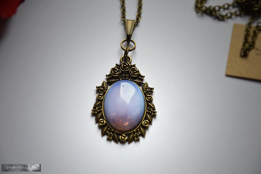 Opal szlachetny niebieski  Wisiorek vintage