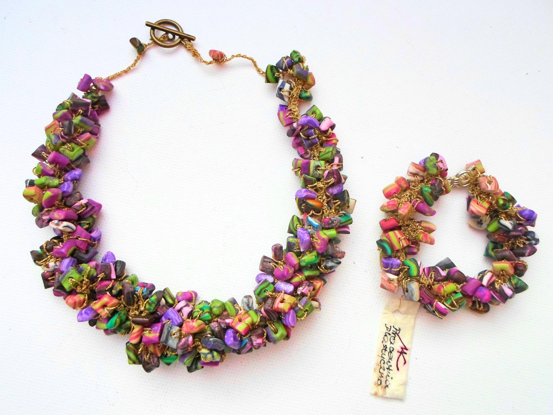 Naszyjnik i bransoletka z ręcznie robionych koralików