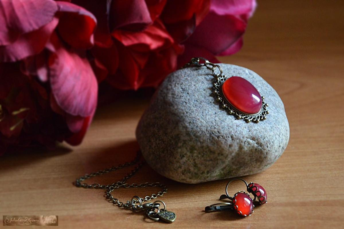 Agat brazylijski czerwony Komplet vintage Medalion Kolczyki