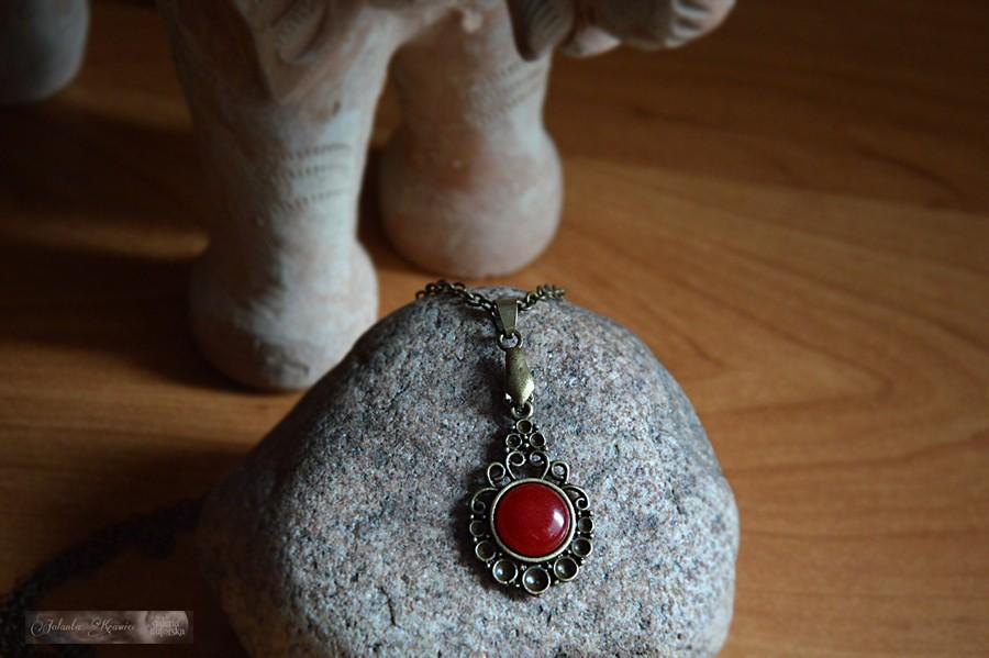 Agat brazylijski czerwony  Medalion Wisiorek vintage