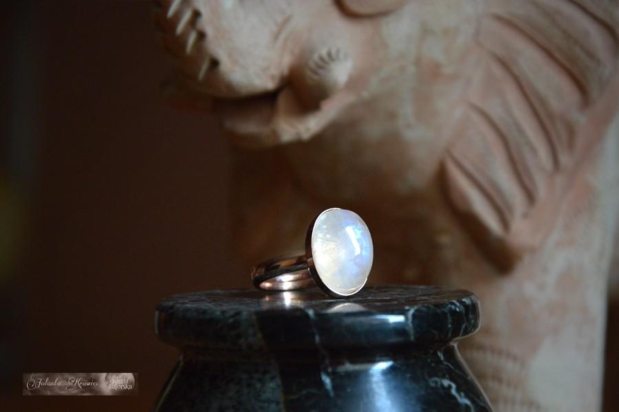 Kamień Księżycowy adularowy Kolekcja baśniowa Pierścionek