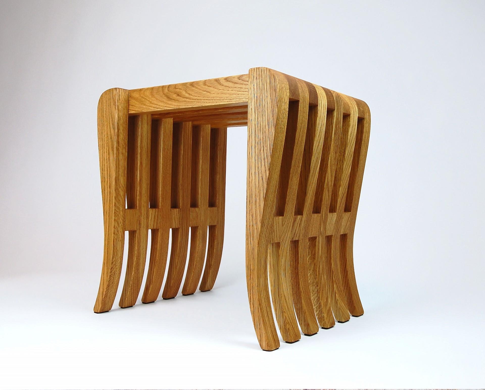 Puf/ hoker  Ośmiornica, drewno dębowe, wykonane ręcznie.