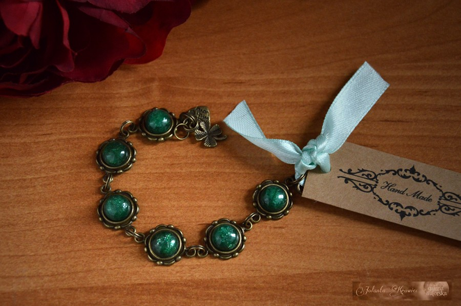 Awenturyn zielony z Rosji  Bransoletka kolekcja vintage