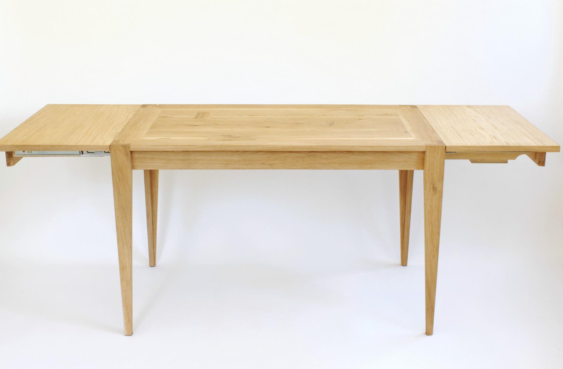 Stół rozkładany 120/204 cm x 72 cm, stół dębowy, stół do jadalni, niepowtarzalny blat