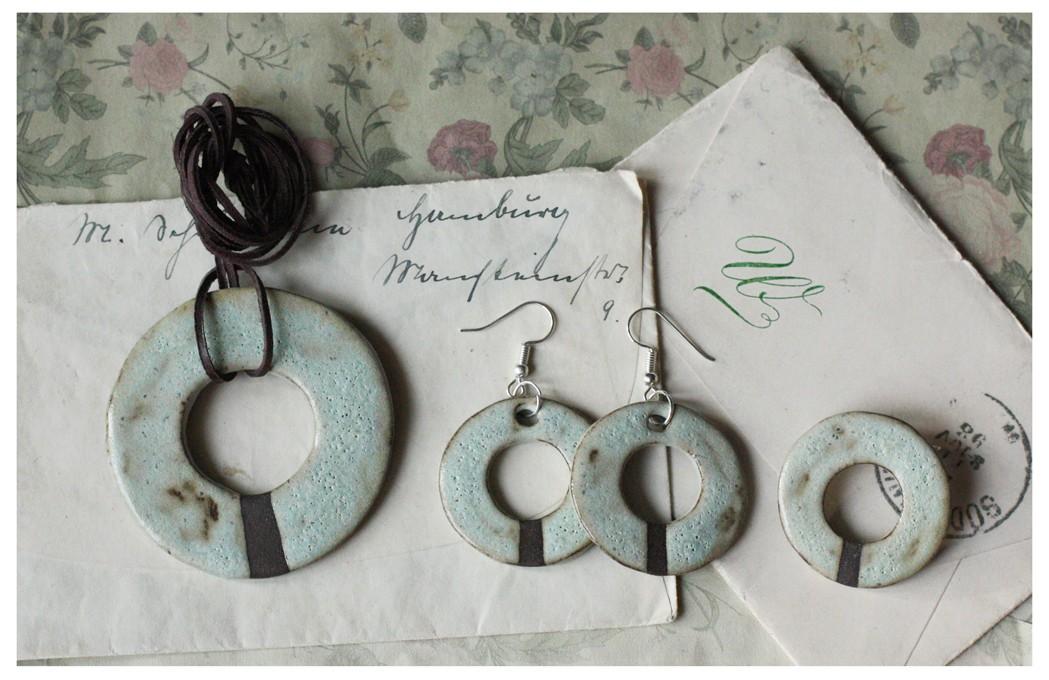 Zestaw biżuterii miętowe koła