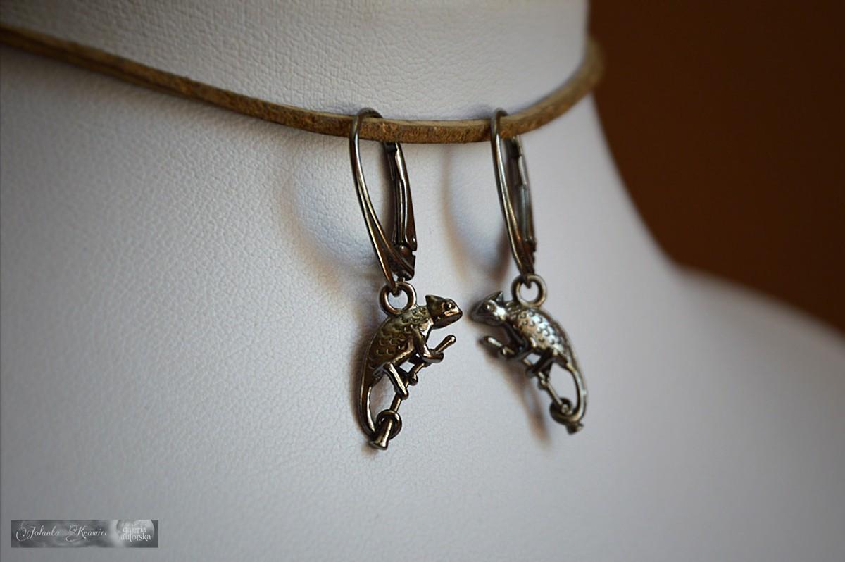 Kolczyki srebro 925 rodowane Kameleony