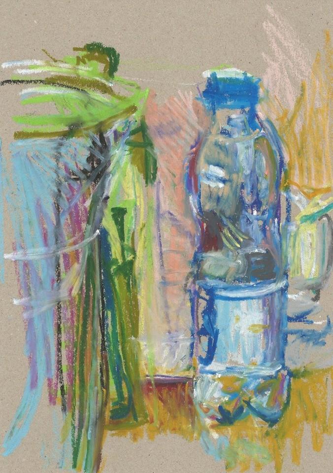 niebieska butelka i zielona