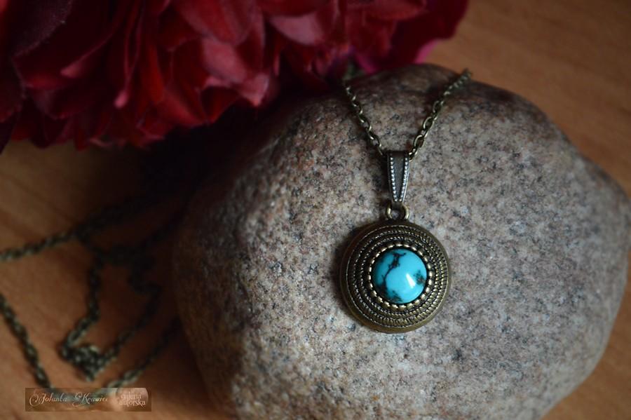 Turkus z Arizony  Kolekcja vintage Medalion Naszyjnik