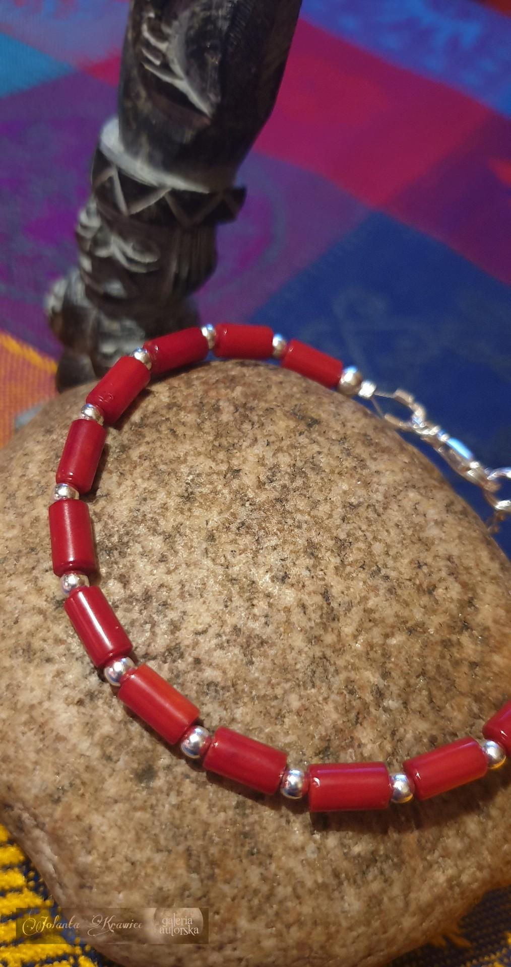 Koral naturalny czerwony  Bransoletka Srebro Kolekcja baśniowa