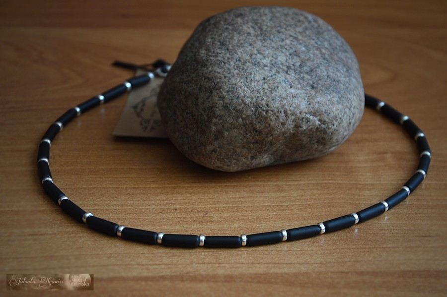 Onyks czarny  Kolekcja męska  Naszyjnik srebro
