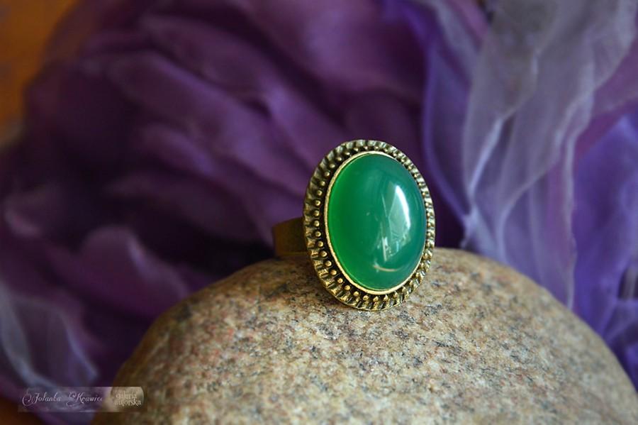 Agat brazylijski zielony Pierścionek Kolekcja vintage