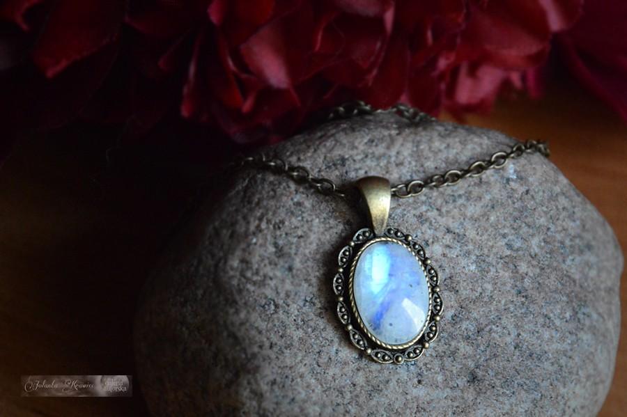 Kamień Księżycowy  Medalion Kolekcja vintage