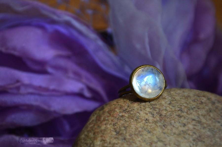 Kamień księżycowy adularowy Pierścionek Kolekcja vintage