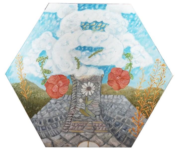 Łupki z Turyngii - Obraz olejny sześciokątny